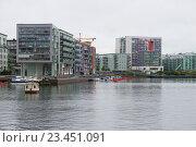 Contemporary urban development of Stockholm on a cloudy day. Sweden (2016 год). Стоковое фото, фотограф Виктор Карасев / Фотобанк Лори
