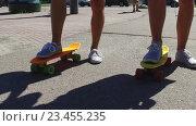 Купить «teenage couple feet riding short modern skateboard», видеоролик № 23455235, снято 31 августа 2016 г. (c) Syda Productions / Фотобанк Лори