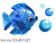 Акварельная голубая рыбка. Стоковое фото, фотограф Екатерина Кулаева / Фотобанк Лори