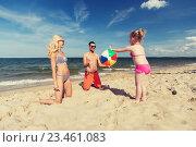 Купить «happy family playing with inflatable ball on beach», фото № 23461083, снято 11 августа 2015 г. (c) Syda Productions / Фотобанк Лори