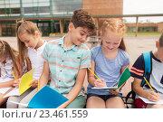 Купить «group of happy elementary school students outdoors», фото № 23461559, снято 24 июля 2016 г. (c) Syda Productions / Фотобанк Лори