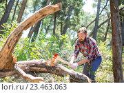 Купить «Мужчина в клетчатой рубашке рубит дерево топором в летнем лесу», фото № 23463063, снято 14 мая 2015 г. (c) Иван Кузнецов / Фотобанк Лори