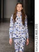 Купить «MILAN, ITALY - SEPTEMBER 28: A model walks the runway during the Arthur Arbesser fashion show as part of Milan Fashion Week Spring/Summer 2016 on September 28, 2015 in Milan, Italy.», фото № 23468355, снято 28 сентября 2015 г. (c) Anton Oparin / Фотобанк Лори