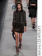 Купить «MILAN, ITALY - SEPTEMBER 24: A model walks the runway during the Fendi fashion show as part of Milan Fashion Week Spring/Summer 2016 on September 24, 2015 in Milan, Italy.», фото № 23470611, снято 24 сентября 2015 г. (c) Anton Oparin / Фотобанк Лори