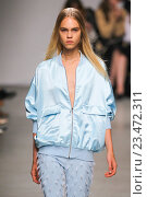 Купить «MILAN, ITALY - SEPTEMBER 25: A model walks the runway during the Iceberg show as a part of Milan Fashion Week Spring/Summer 2016 on September 25, 2015 in Milan, Italy.», фото № 23472311, снято 25 сентября 2015 г. (c) Anton Oparin / Фотобанк Лори