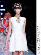Купить «MILAN, ITALY - SEPTEMBER 27: A model walks the runway during the Mario Dice fashion show as part of Milan Fashion Week S/S 2016 on September 27, 2015 in Milan, Italy.», фото № 23473111, снято 27 сентября 2015 г. (c) Anton Oparin / Фотобанк Лори