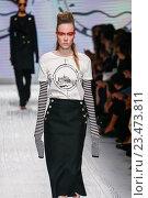 Купить «MILAN, ITALY - SEPTEMBER 24: A model walks the runway during the Max Mara show as a part of Milan Fashion Week Spring/Summer 2016 on September 24, 2015 in Milan, Italy.», фото № 23473811, снято 24 сентября 2015 г. (c) Anton Oparin / Фотобанк Лори