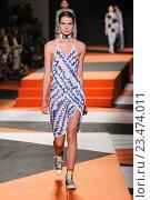 Купить «MILAN, ITALY - SEPTEMBER 27: A model walks the runway during the Missoni show as a part of Milan Fashion Week Spring/Summer 2016 on September 27, 2015 in Milan, Italy.», фото № 23474011, снято 27 сентября 2015 г. (c) Anton Oparin / Фотобанк Лори