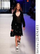Купить «MILAN, ITALY - SEPTEMBER 27: A model walks the runway during the MSGM fashion show as part of Milan Fashion Week Spring/Summer 2016 on September 27, 2015 in Milan, Italy.», фото № 23474411, снято 27 сентября 2015 г. (c) Anton Oparin / Фотобанк Лори