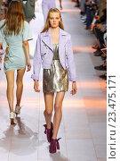 Купить «MILAN, ITALY - SEPTEMBER 26: A model walks the runway during the Roberto Cavalli fashion show as part of Milan Fashion Week Spring/Summer 2016 on September 26, 2015 in Milan, Italy.», фото № 23475171, снято 26 сентября 2015 г. (c) Anton Oparin / Фотобанк Лори
