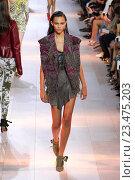 Купить «MILAN, ITALY - SEPTEMBER 26: A model walks the runway during the Roberto Cavalli fashion show as part of Milan Fashion Week Spring/Summer 2016 on September 26, 2015 in Milan, Italy.», фото № 23475203, снято 26 сентября 2015 г. (c) Anton Oparin / Фотобанк Лори