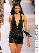 Купить «MILAN, ITALY - SEPTEMBER 26: A model walks the runway during the Roberto Cavalli fashion show as part of Milan Fashion Week Spring/Summer 2016 on September 26, 2015 in Milan, Italy.», фото № 23475263, снято 26 сентября 2015 г. (c) Anton Oparin / Фотобанк Лори