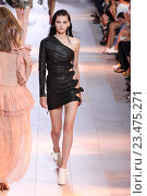Купить «MILAN, ITALY - SEPTEMBER 26: A model walks the runway during the Roberto Cavalli fashion show as part of Milan Fashion Week Spring/Summer 2016 on September 26, 2015 in Milan, Italy.», фото № 23475271, снято 26 сентября 2015 г. (c) Anton Oparin / Фотобанк Лори