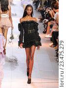 Купить «MILAN, ITALY - SEPTEMBER 26: A model walks the runway during the Roberto Cavalli fashion show as part of Milan Fashion Week Spring/Summer 2016 on September 26, 2015 in Milan, Italy.», фото № 23475279, снято 26 сентября 2015 г. (c) Anton Oparin / Фотобанк Лори