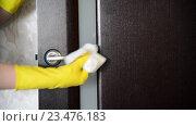 Купить «Домохозяйка протирает от пыли  ручку двери», видеоролик № 23476183, снято 18 апреля 2016 г. (c) Володина Ольга / Фотобанк Лори