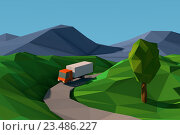 Иллюстрация в полигональном стиле. Пейзаж с грузовиком на дороге. Стоковая иллюстрация, иллюстратор Rashpil / Фотобанк Лори
