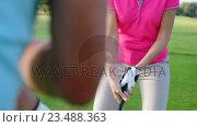 Купить «Two golfers playing golf together », видеоролик № 23488363, снято 22 июля 2019 г. (c) Wavebreak Media / Фотобанк Лори