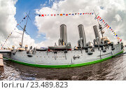 Купить «The legendary revolutionary cruiser Aurora at the place of eternal parking on the Petrograd embankment», фото № 23489823, снято 29 июля 2016 г. (c) FotograFF / Фотобанк Лори