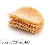 Купить «Стопка картофельных чипсов», фото № 23490443, снято 25 июля 2016 г. (c) Антон Стариков / Фотобанк Лори