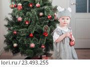 Купить «Little child in festive suit of mouse sits in sledges near the Christmas tree», фото № 23493255, снято 20 декабря 2015 г. (c) Майя Крученкова / Фотобанк Лори