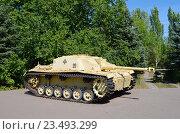 Купить «Город Саратов. Музей военной техники в парке Победы. Немецкое штурмовое орудие Штурмгешутц III (STUG III Ausf.F)», эксклюзивное фото № 23493299, снято 8 августа 2019 г. (c) Staryh Luiba / Фотобанк Лори