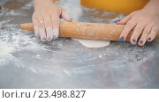 Купить «Женщина раскатывает тесто», видеоролик № 23498827, снято 23 августа 2016 г. (c) Илья Шаматура / Фотобанк Лори