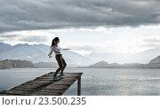 Купить «Girl ride skateboard . Mixed media», фото № 23500235, снято 25 марта 2014 г. (c) Sergey Nivens / Фотобанк Лори
