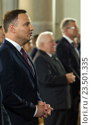 Poznan, Poland, Andrzej Duda, Polish President, at a Mass on the 60th anniversary of the Poznan workers' rebellion (2016 год). Редакционное фото, агентство Caro Photoagency / Фотобанк Лори