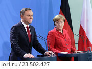 Berlin, Germany, statements of German Chancellor and the State President of the Republic of Poland, Andrzej Duda, before the common conversation in the Federal Chancellery (2016 год). Редакционное фото, агентство Caro Photoagency / Фотобанк Лори