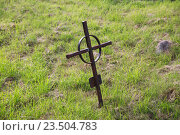 Купить «old rusty grave cross on cemetery in ireland», фото № 23504783, снято 24 июня 2016 г. (c) Syda Productions / Фотобанк Лори