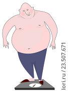 Купить «Толстый мужчина на весах», иллюстрация № 23507671 (c) М Б / Фотобанк Лори