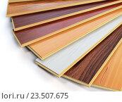 Купить «Parquet o laminate wooden planks of the different colors on white background.», фото № 23507675, снято 8 июля 2020 г. (c) Maksym Yemelyanov / Фотобанк Лори