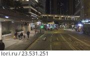 Ночные улицы Гонконга, вид из автобуса (2016 год). Редакционное видео, видеограф Михаил Коханчиков / Фотобанк Лори