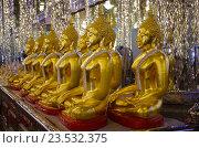 Купить «Золотая статуя Будды в Зеркальном храме, провинция Утхайтхани, Таиланд. Wat Tha Sung or Wat Chantharam», фото № 23532375, снято 31 августа 2016 г. (c) Natalya Sidorova / Фотобанк Лори