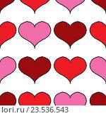 Фон из рисунков красных сердечек. Стоковая иллюстрация, иллюстратор Сергей Немшилов / Фотобанк Лори