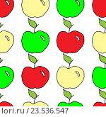 Фон из рисунков яблок. Стоковая иллюстрация, иллюстратор Сергей Немшилов / Фотобанк Лори