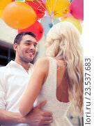 couple with colorful balloons, фото № 23537683, снято 14 июля 2013 г. (c) Syda Productions / Фотобанк Лори