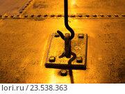 Купить «close up of vintage metal hook and loop», фото № 23538363, снято 27 июня 2016 г. (c) Syda Productions / Фотобанк Лори
