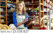 Купить «Female staff maintaining a stock record», видеоролик № 23538827, снято 22 июля 2018 г. (c) Wavebreak Media / Фотобанк Лори