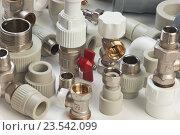 Купить «Сантехническое оборудование и детали трубопровода», фото № 23542099, снято 9 сентября 2011 г. (c) Олег Жуков / Фотобанк Лори