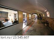 Купить «Электропоезд Эп-563 с туристами на станции «Зал Апсны» железной дороги в Новоафонской пещере, Абхазия», эксклюзивное фото № 23545607, снято 23 июля 2016 г. (c) Алексей Гусев / Фотобанк Лори