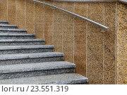 Купить «Лестница с мраморными ступеньками и стальными перилами», фото № 23551319, снято 18 августа 2016 г. (c) Сергей Трофименко / Фотобанк Лори