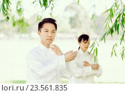 Купить «Handsome man practicing thai chi», фото № 23561835, снято 19 декабря 2014 г. (c) Sergey Nivens / Фотобанк Лори
