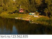 Купить «Переправа между Европой и Азией через реку Урал», фото № 23562835, снято 6 августа 2016 г. (c) Акиньшин Владимир / Фотобанк Лори