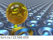 Желтый шар на голубом фоне с узором. Стоковая иллюстрация, иллюстратор Rashpil / Фотобанк Лори
