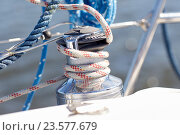 close up of mooring rope on sailboat or yacht. Стоковое фото, фотограф Syda Productions / Фотобанк Лори