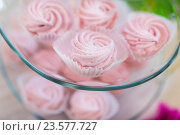 Купить «close up of custard sweets on glass serving tray», фото № 23577727, снято 11 июня 2016 г. (c) Syda Productions / Фотобанк Лори