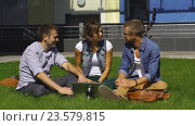 Купить «Трое студентов сидят на лужайке», видеоролик № 23579815, снято 13 сентября 2016 г. (c) Виктор Аллин / Фотобанк Лори