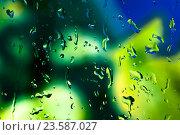 Купить «Капли на стекле и кислотная зелень», фото № 23587027, снято 3 сентября 2016 г. (c) Mike The / Фотобанк Лори