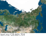 Купить «Satellite view of Russia, with Arctic ice pack, showing neighbouring countries Belarus, Kazakhstan and Mongolia (with country boundaries). This image was...», фото № 23601731, снято 22 июля 2019 г. (c) age Fotostock / Фотобанк Лори